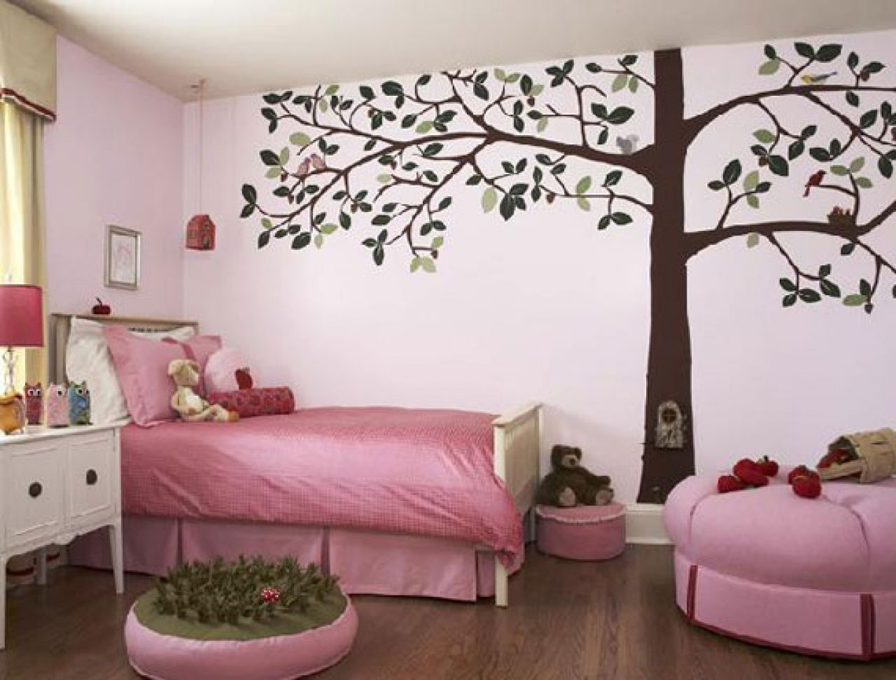 pink themed awesome kids wall decor ideas with brown tree shaped