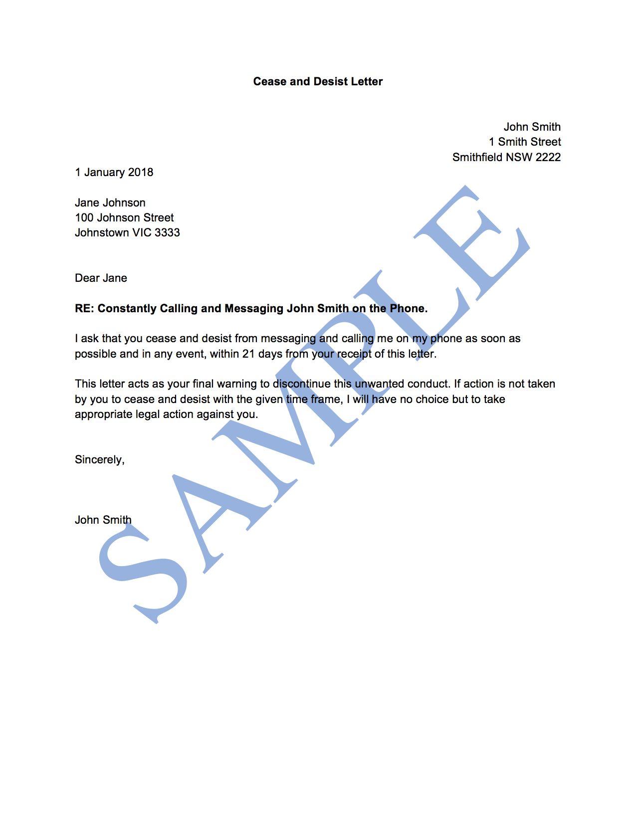 Cease And Desist Letter (General) Free Template en 2020