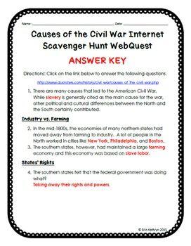 Causes of the Civil War Internet Scavenger Hunt WebQuest ...