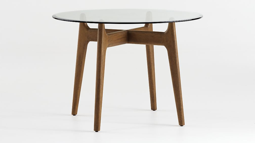 Tate Round Dining Table With Glass Top And Walnut Base Crate And