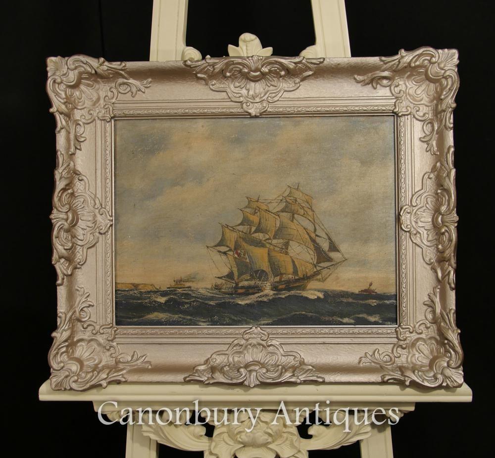 Antique Dutch Oil Painting Ship Maritime Seascape Art