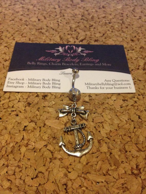 Anchor with Bow Belly Ring by MilitaryBodyBling on Etsy, $14.00