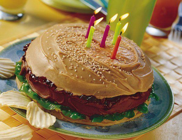 Groovy Big Burger Cake Recipe Burger Cake Hamburger Cake Cupcake Cakes Funny Birthday Cards Online Elaedamsfinfo