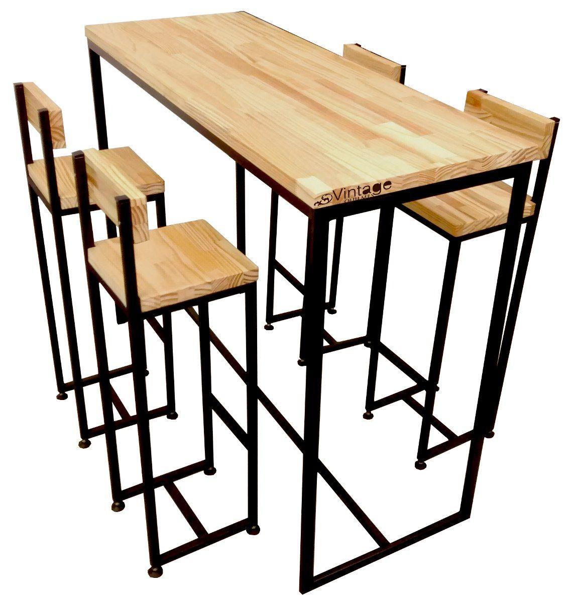 Barra desayunador con sillas taburetes hierro y - Taburete barra cocina ...