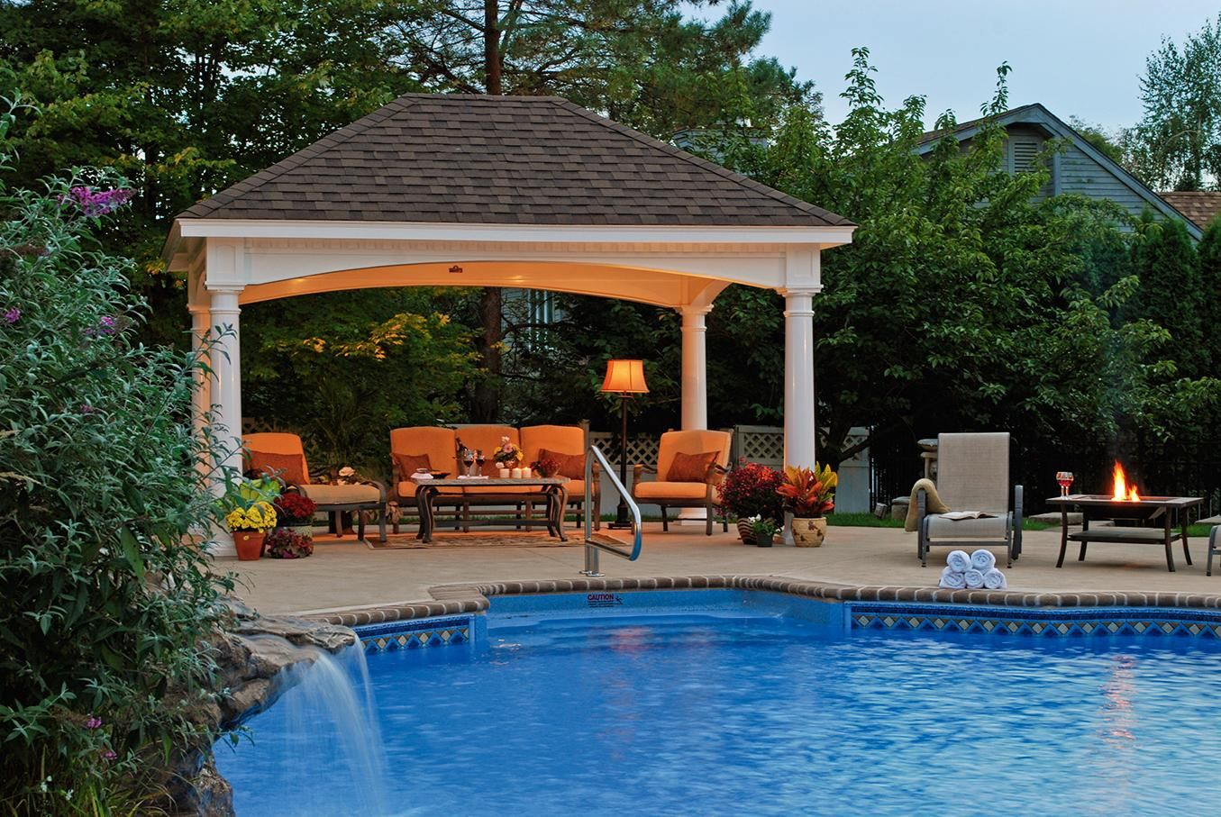 Hardtop gazebo with mosquito netting best hard top for Pool design with gazebo