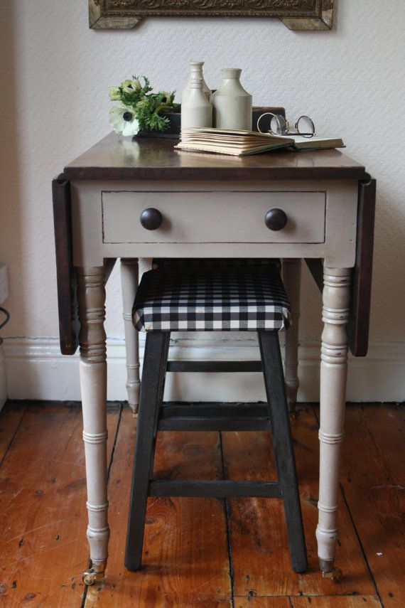 Restored Vintage Drop Leaf Table With Castors And Single Drawer In Mousse  Grey