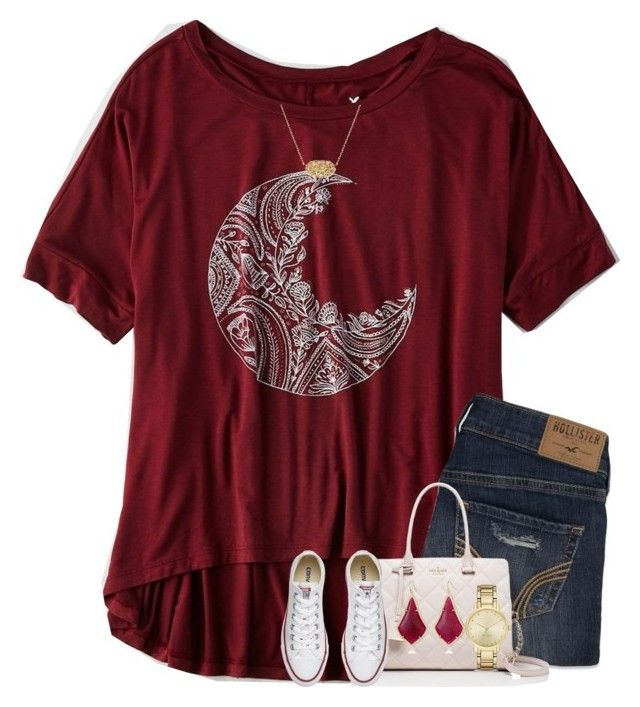 """""""What defines us is how well we rise after falling."""" by your-daily-prep ❤ liked on Polyvore featuring American Eagle Outfitters, Hollister Co., Kate Spade, Converse and Kendra Scott"""