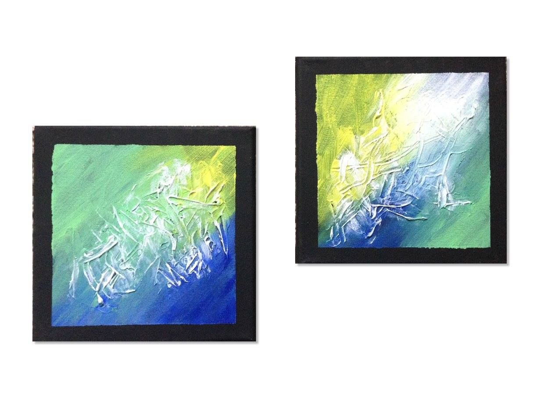 Abstraktes Acrylbild 2-teilig in den Farben Grün, Blau, Gelb & Weiß ...