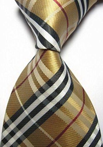 Ochre Black Striped Jacquard Woven New Classic Necktie 100%Silk Men's Tie  http://www.yourneckties.com/ochre-black-striped-jacquard-woven-new-classic-necktie-100silk-mens-tie-3/
