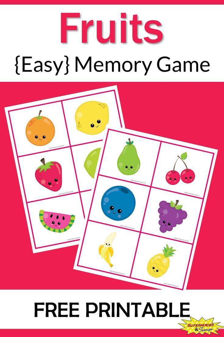 Fruits memory game free printable free games for kids