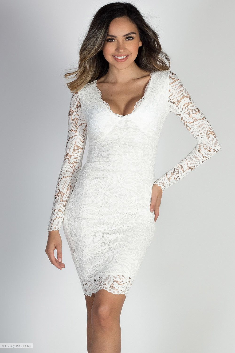 V Neck Fitted Long Sleeve White Lace Cocktail Dress Cocktail Dress Lace Lace Dress White Long Sleeve [ 1500 x 1000 Pixel ]