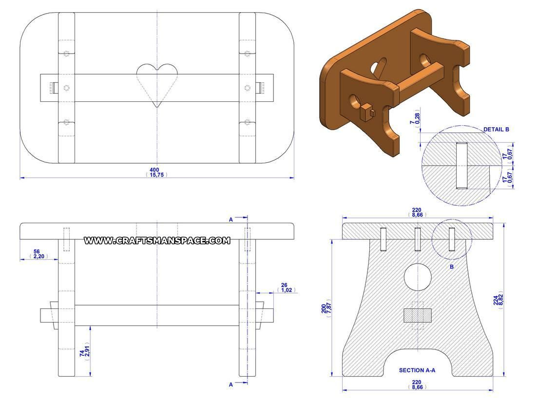 Practical stool plan assembly drawing medidas de for Taburete dwg