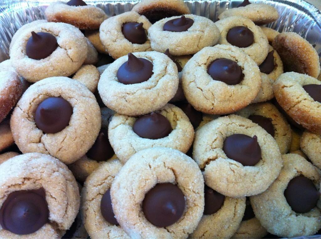 #cookieHQ Peanut Butter Blossoms made with Hershey Kisses!