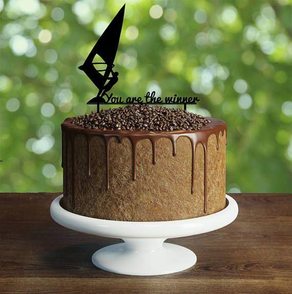 Windsurfer Birthday Cake Topper Customizable Windsurfing Silhouette Windsur
