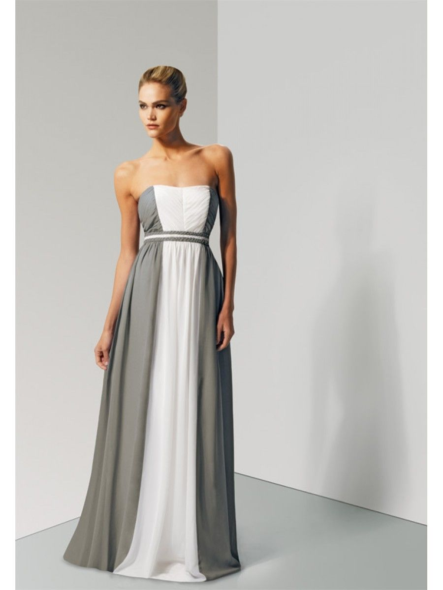 A Line Grey White Long Chiffon Bridesmaid Dresses Wedding Guest 501033