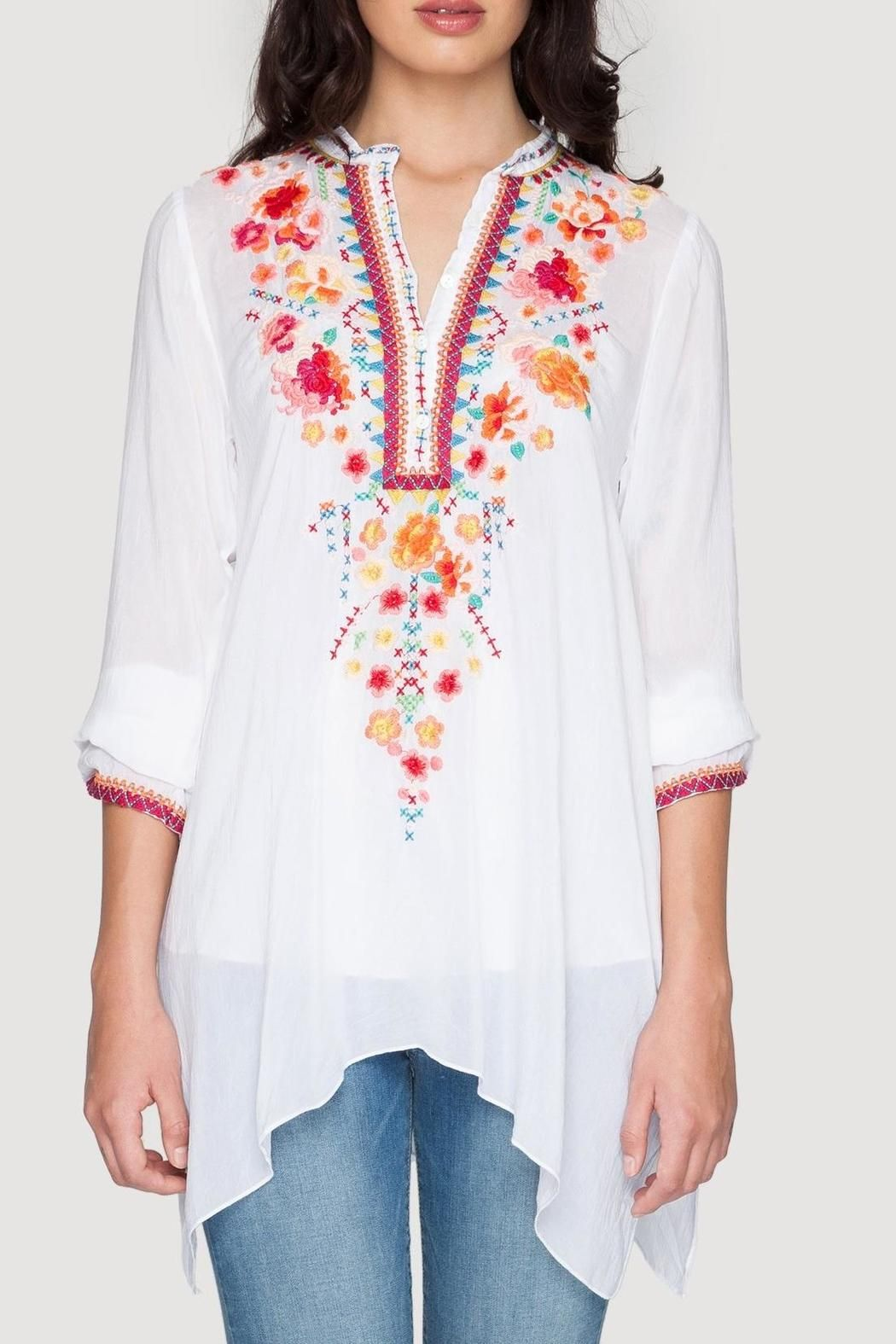 50e1a7400d4 The Johnny Was SABLE TUNIC features a playful scattered floral embroidery  design in vibrant red, pink, orange, and blue. With a three button henley  front, ...