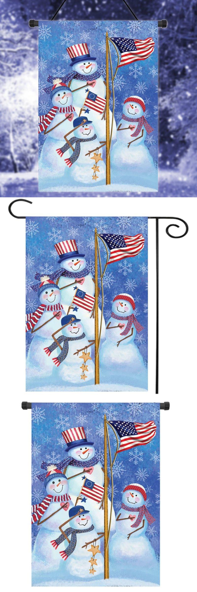 visit to buy snowmen winter garden flag american flag snowman