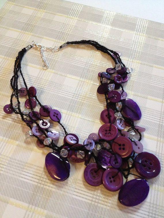 Lavender & Purple Button Necklace via Etsy