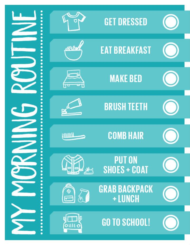 Handy printable morning routine checklist pinterest for Steps to building a house checklist