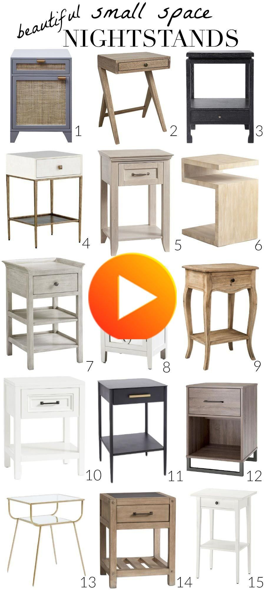 On the hunt for a narrow nightstand that's perfect for small spaces and beautiful too? I've searched them ALL and rounded up my favorite 15! #bedroomdecor #bathroomdecor