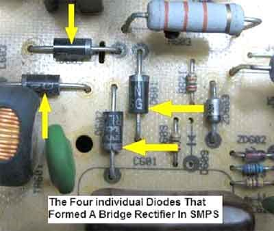 An image from the SMPS repairing guide that shows 4 separate diodes ...