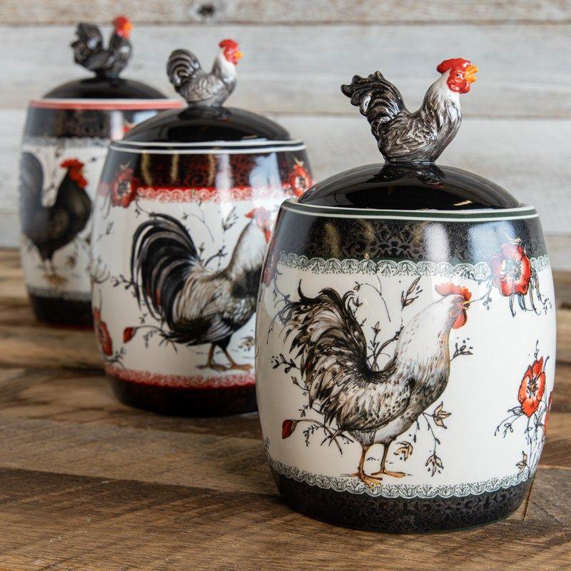 Rooster Canisters Set Of 3 Cracker Barrel Chicken Kitchen Decor Rooster Canisters Canister Sets