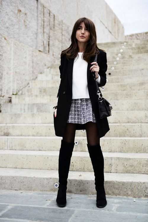 ad55be54d Grey and white tweed plaid mini skirt with white blouse, black pea coat,  tights, otk black boots