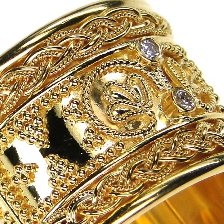 "Damaskos 18k Gold ""Iraklion"" Ring, 18k Gold and Diamonds. This and more handmade Greek jewelry at Athena's Treasures: www.athenas-treasures.com"
