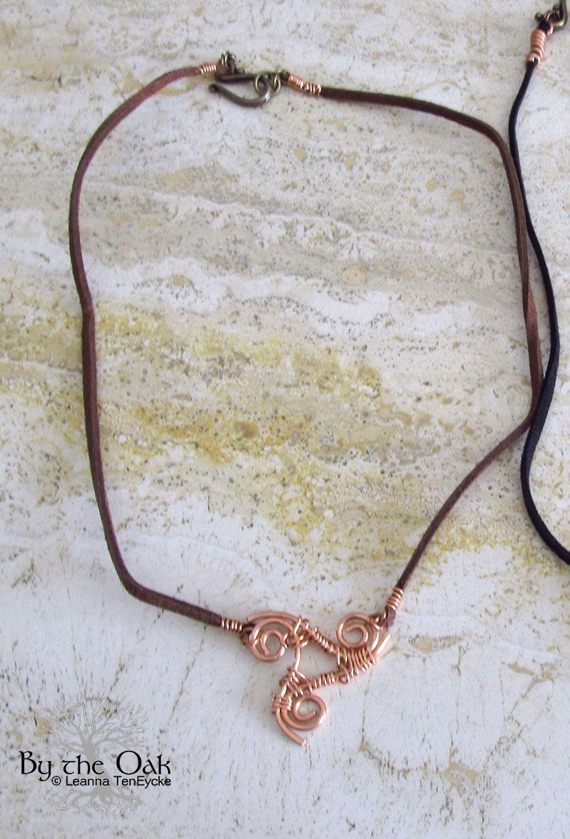 Celtic Copper Wire Jewelry Triskele Triple Spiral Wire Wrapped ...