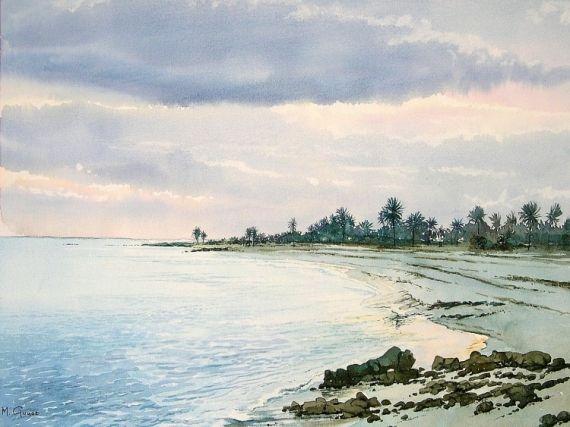 Tableau Peinture Tunisie Plage Palmiers Paysages Aquarelle Cote