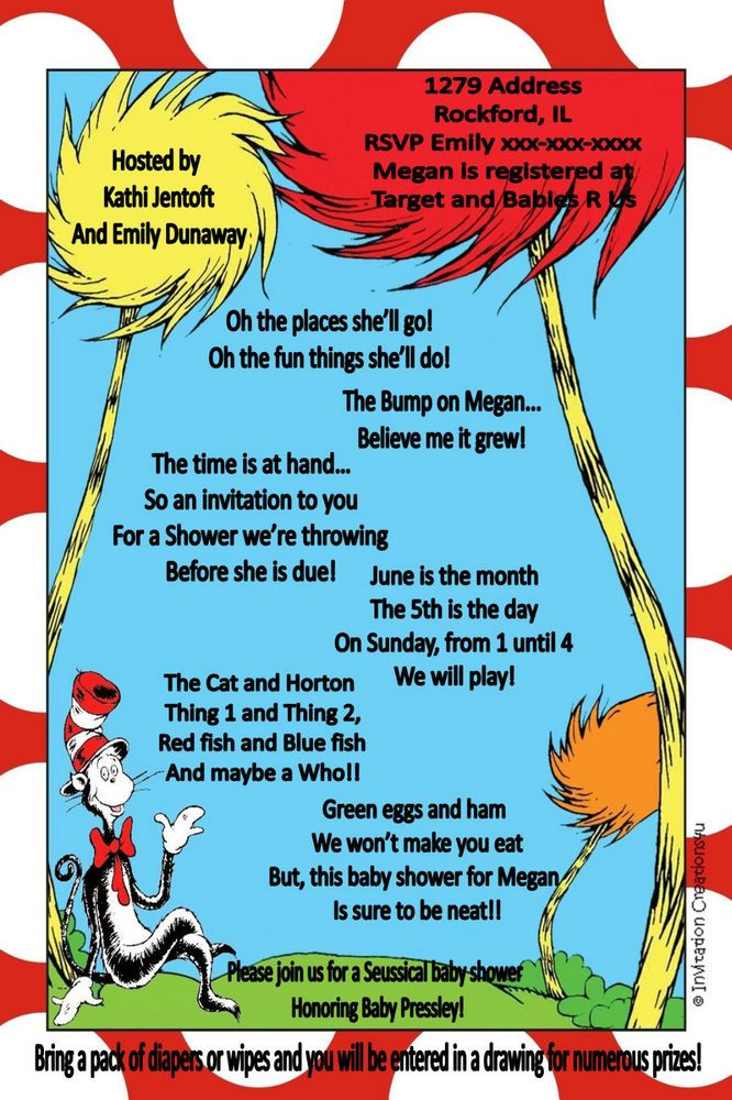 Customizable Dr. Seuss Baby Shower Invitations- I CREATE ... YOU ...
