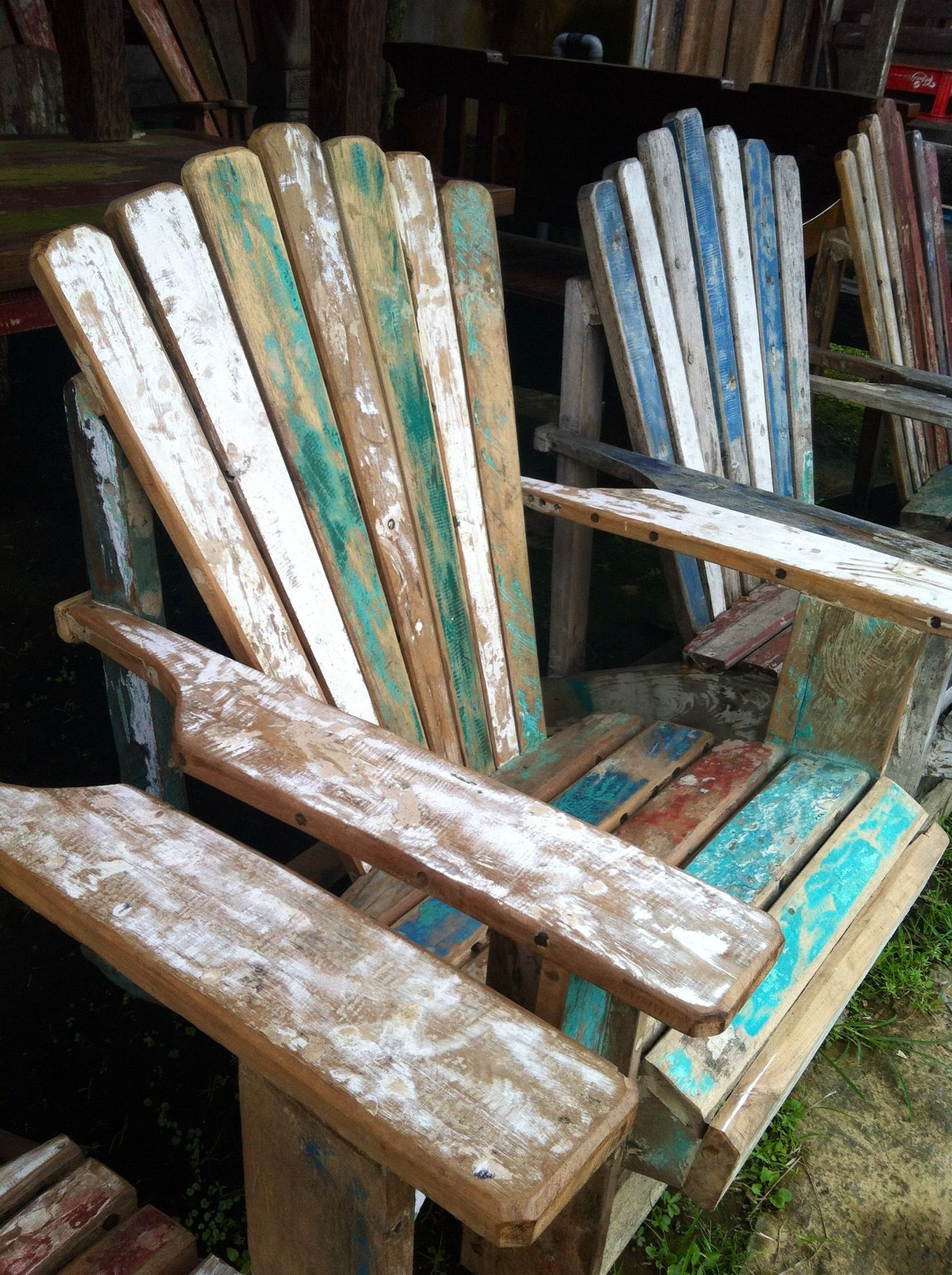 Adirondack Reclaimed Boat Wood Chair. Looking For Recycled Boat Furniture?  We Can Assist You