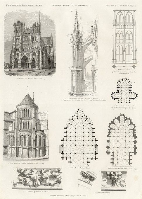 AMIENS Chalons Notre Dame Cathedral Architecture Print Architectural Styles