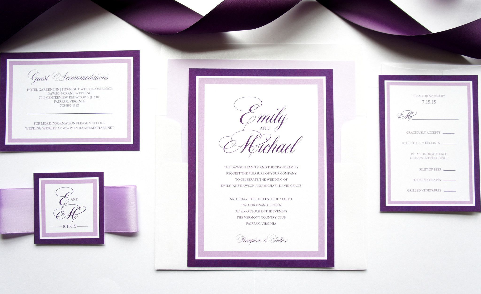 Purple Wedding Invitation - SAMPLE SET | Belly bands, Purple wedding ...