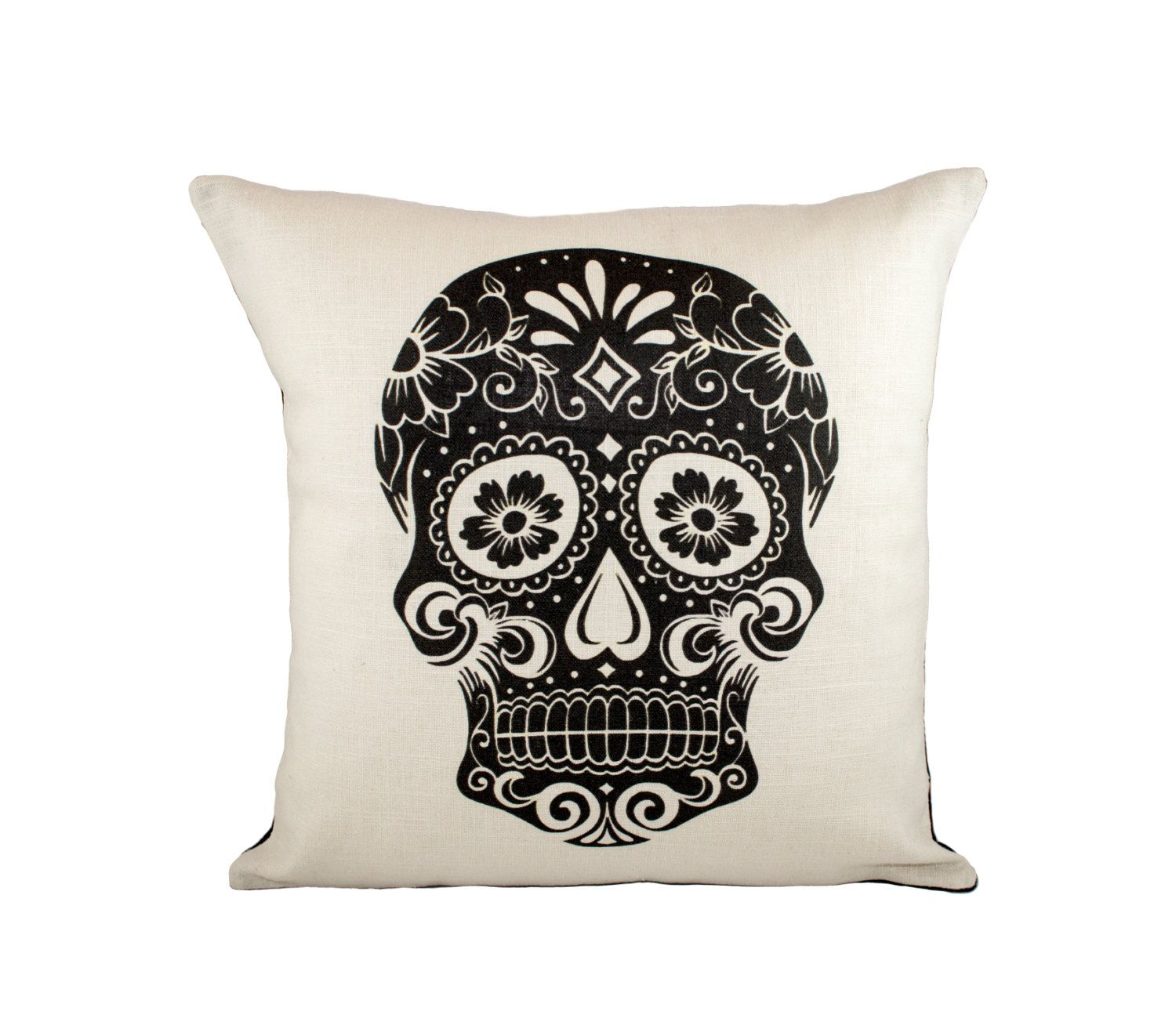 Black Skull Pillow Cover Day Of The Dead Decorative