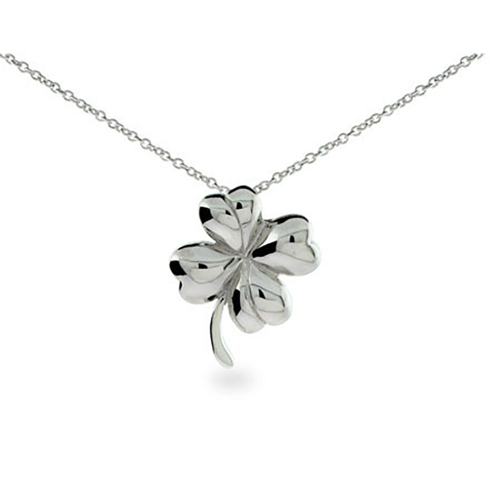 az leaf green bling swarovski clover pbx silver necklace jewelry uec crystal pendant