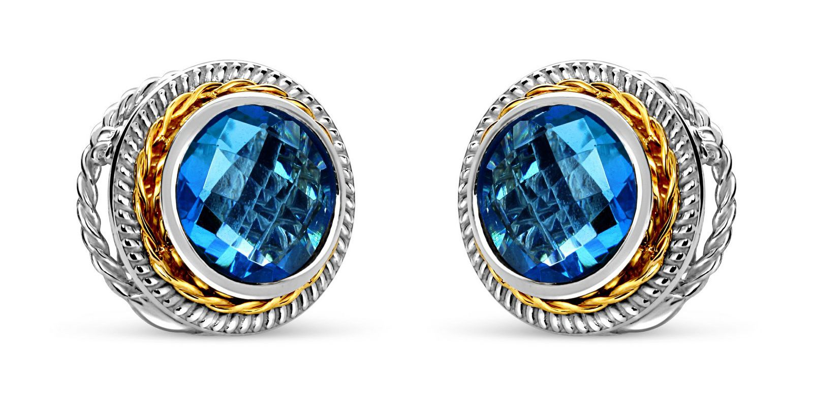 Blue topaz 18 karat gold/sterling silver earrings | ShopInde