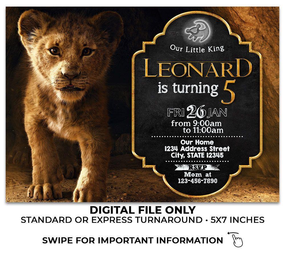 Lion King 2019 Birthday Invitation Lion King Live Action Invitation Lion King Birthday Lion King Birthday Party Ideas Lion King Birthday Lion King Invitation