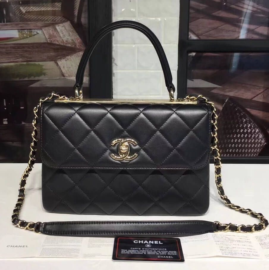 f79806a80ac636 Chanel Small Trendy CC Flap Bag With Top Handle Black 2017(Light Gold  Hardware)
