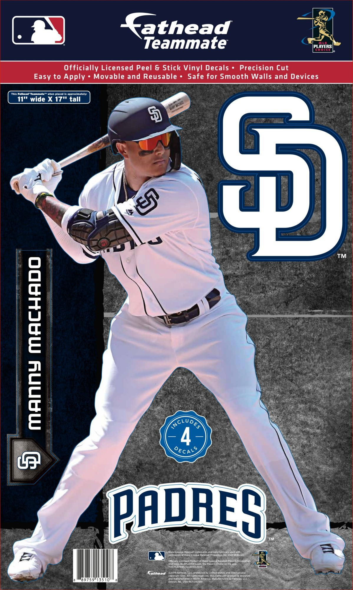 Bring your favorite player to life in your fan cave with the Fathead® San Diego Padres Manny Machado Teammate Wall Decal. Teammate Wall Decal Removable and reusable decal Made from durable, tear-resistant vinyl Team Spirit Features action shot of player Includes a variety of team decals Additional Details Measures: 10