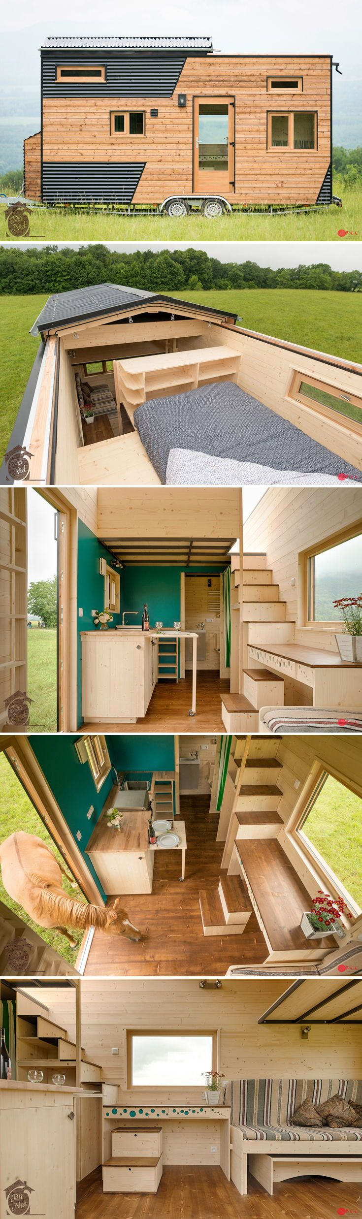 Based on their popular Head in the Stars tiny home, the Cecile by Optinid features a full sunroof. The roof slides open to provide an unobstructed view from the master bedroom loft. #tinyhome