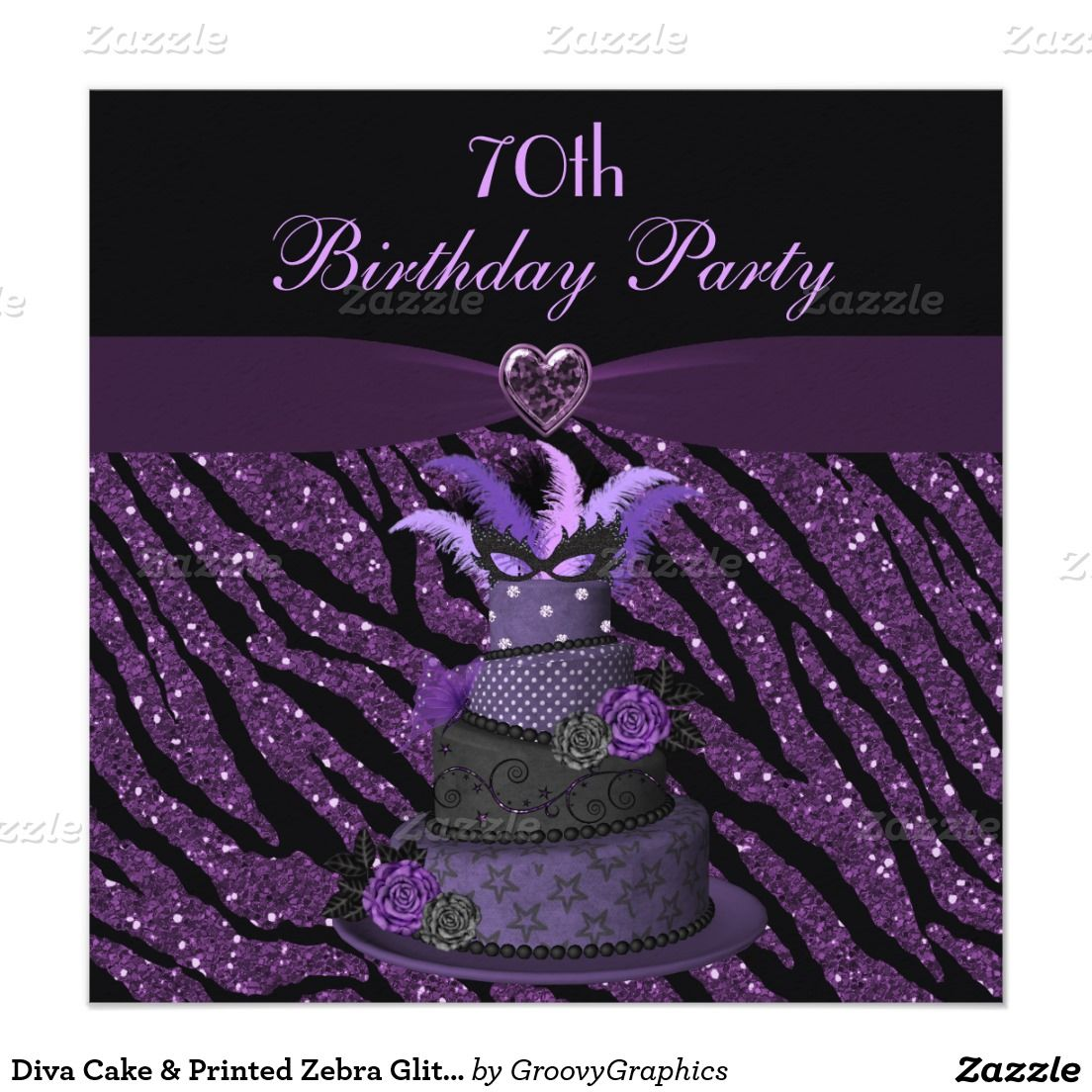 Diva Cake & Printed Zebra Glitter 70th Birthday 5.25x5.25 Square ...