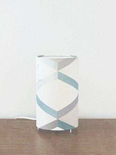 lampe tube motif géométrique scandinave bleu gris Luminaire original - deco chambre turquoise gris