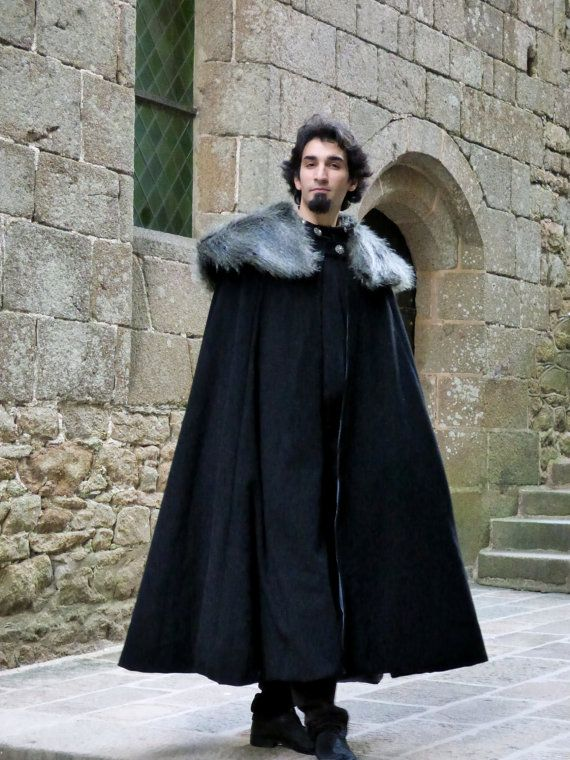 Medieval Viking Cloak For Men Of Woolen Fabric And Fur Collar On Order Winter Cloak Wedding Cloak Winter Outfits Men
