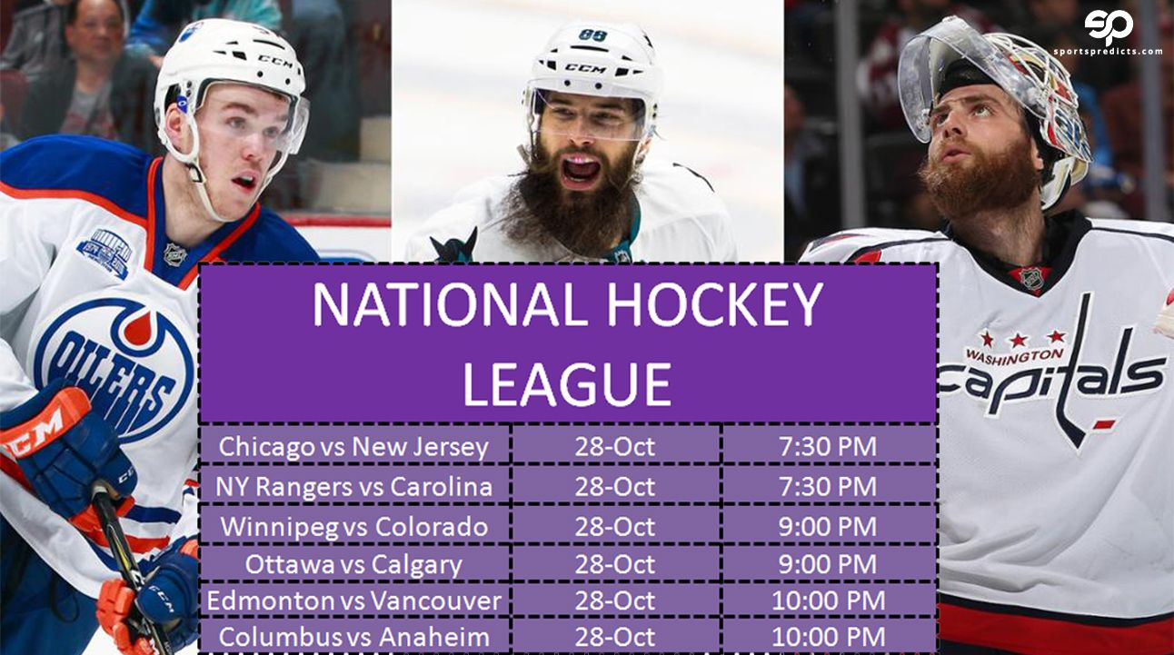 National Hockey League Today Match Schedule 28 Oct 2016 National Hockey League Hockey News Hockey