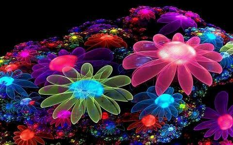 Flores Neón en 3D en el piso