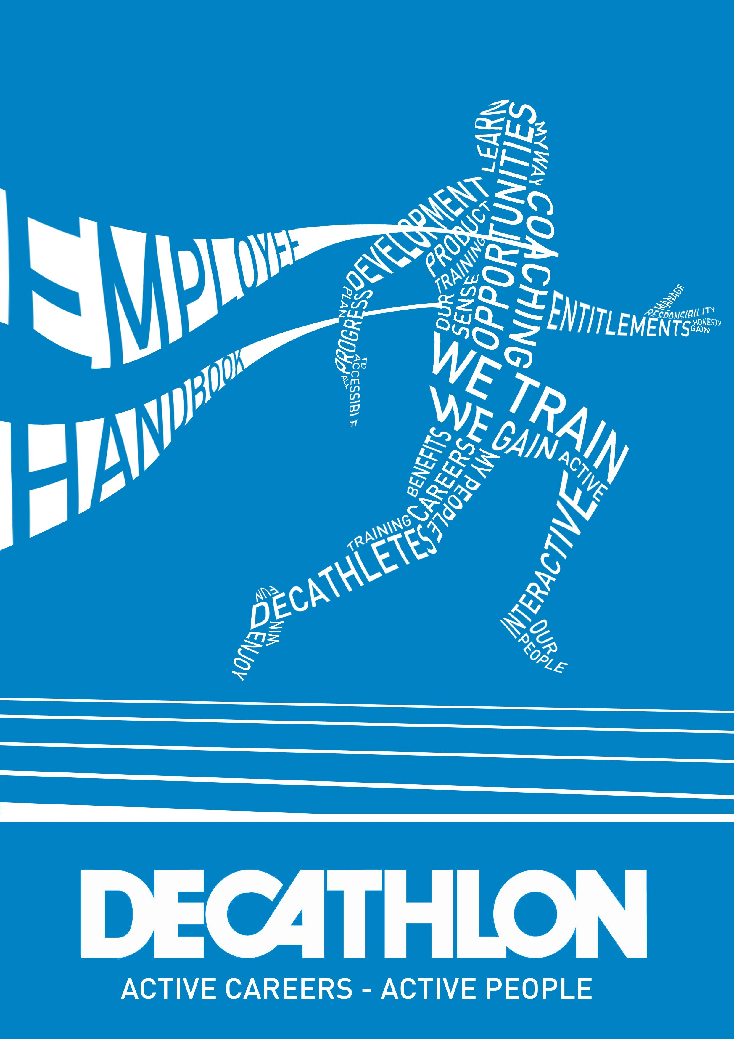 Decathlon Employee Handbook Poster Front Cover Of Publication The Runner Is Made Up Of Key Words From The Booklet With The Runner Coming Through First Over