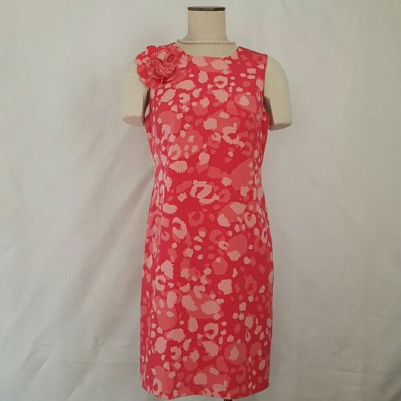 52037d75e38 Shades of pink and coral shift dress Beautiful Ann Taylor shift. Bright  colors just in ti.e for Spring. Accented with flower petals on right  shoulder