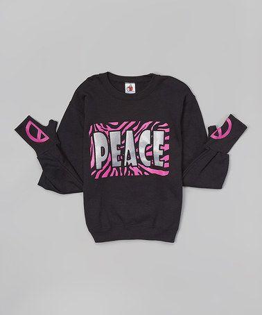 Another great find on #zulily! Black 'Peace' Glove-Cuff Sweatshirt - Girls #zulilyfinds