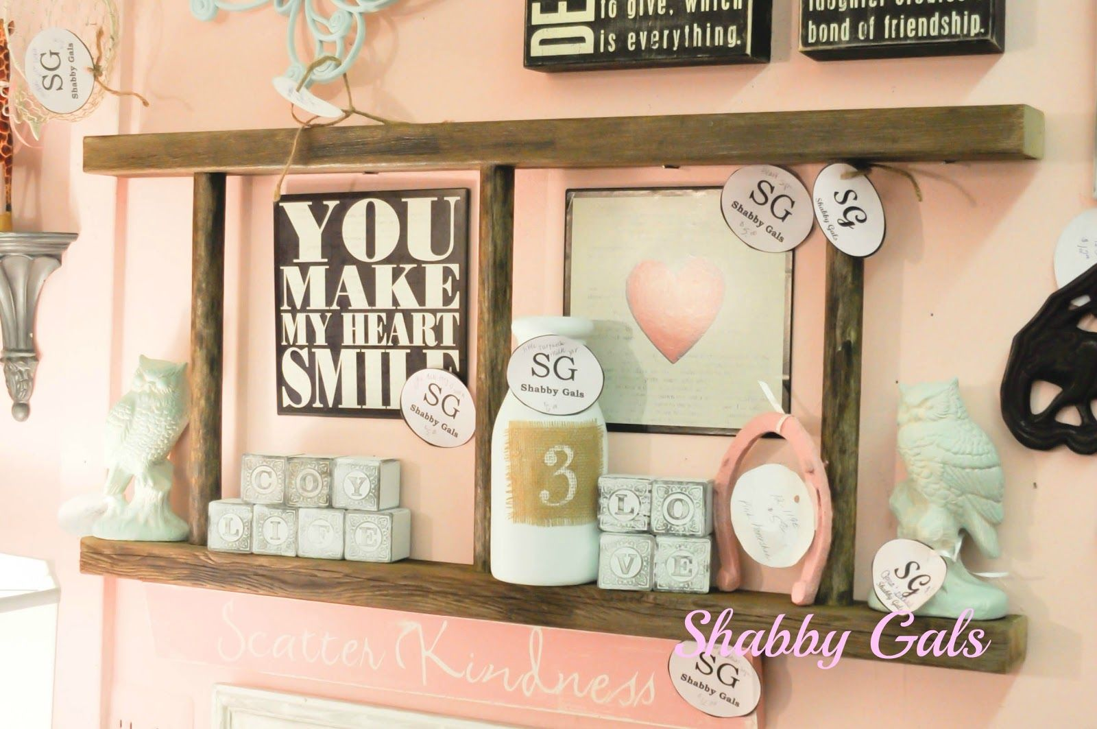 Shabby gals the ladder shelf great use for the old tablerunner